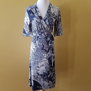 T Tahari print wrap dress with quarter sleeves